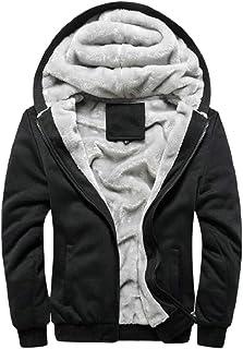 omniscient Men's Winter Heavyweight Fleece Hoodie Jackets Sherpa Lined Full Zip Sweatshirts