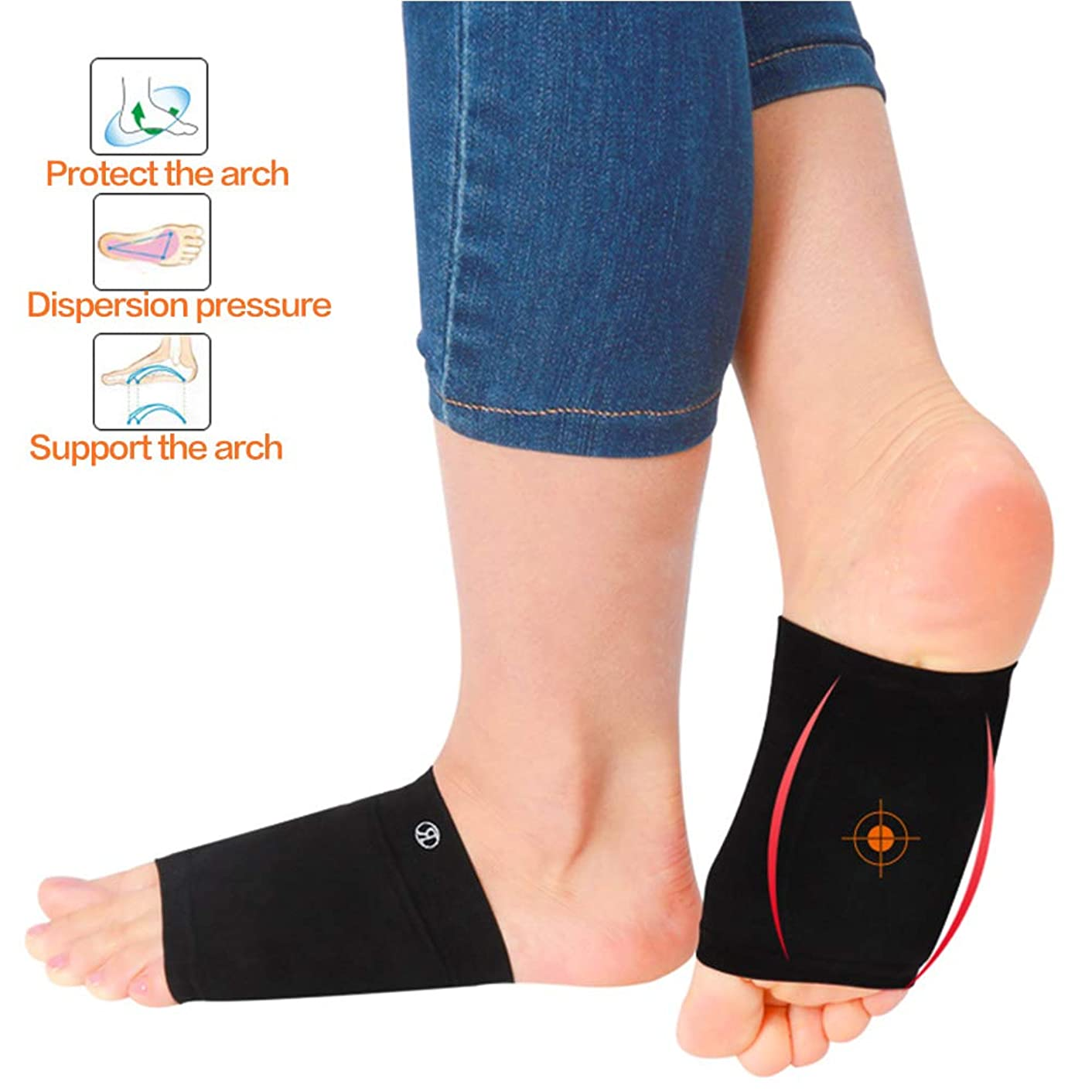 Compression Arch Support Sleeves Sock with Comfort Gel Pad Cushions for Women & Men, Arch Brace for Flat Feet, Sleeves Shoe Insert Insole, Best for Plantar Fasciitis & Flat Foot,Pain Relief(Black)