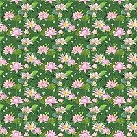 Qinunipoto 写真撮影用 背景布 和風 写真背景 緑の葉 緑の背景 蓮の花 ピンクの蓮の花 撮影用 背景 布 花 撮影 写真 飾る 背景紙 誕生日 背景幕 布背景 無反射 小道具 撮影用背景紙 ビニール 3m x 3m