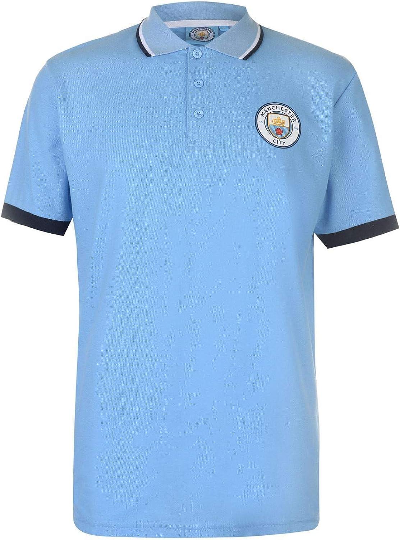 Manchester City Crest Polo Shirt Mens blueee Football Soccer Fan Top Tee T-Shirt