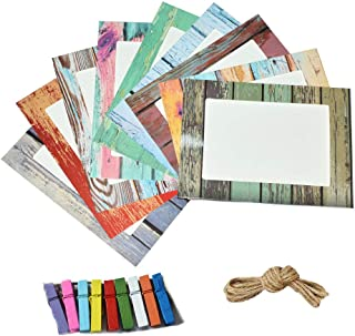 Jahosin 5x7in Paper Picture Frames,DIY Photo Frames Creative Linkage Mounted Cardboard with Flax String and Clips (9pcsMwen PF, 5x7)