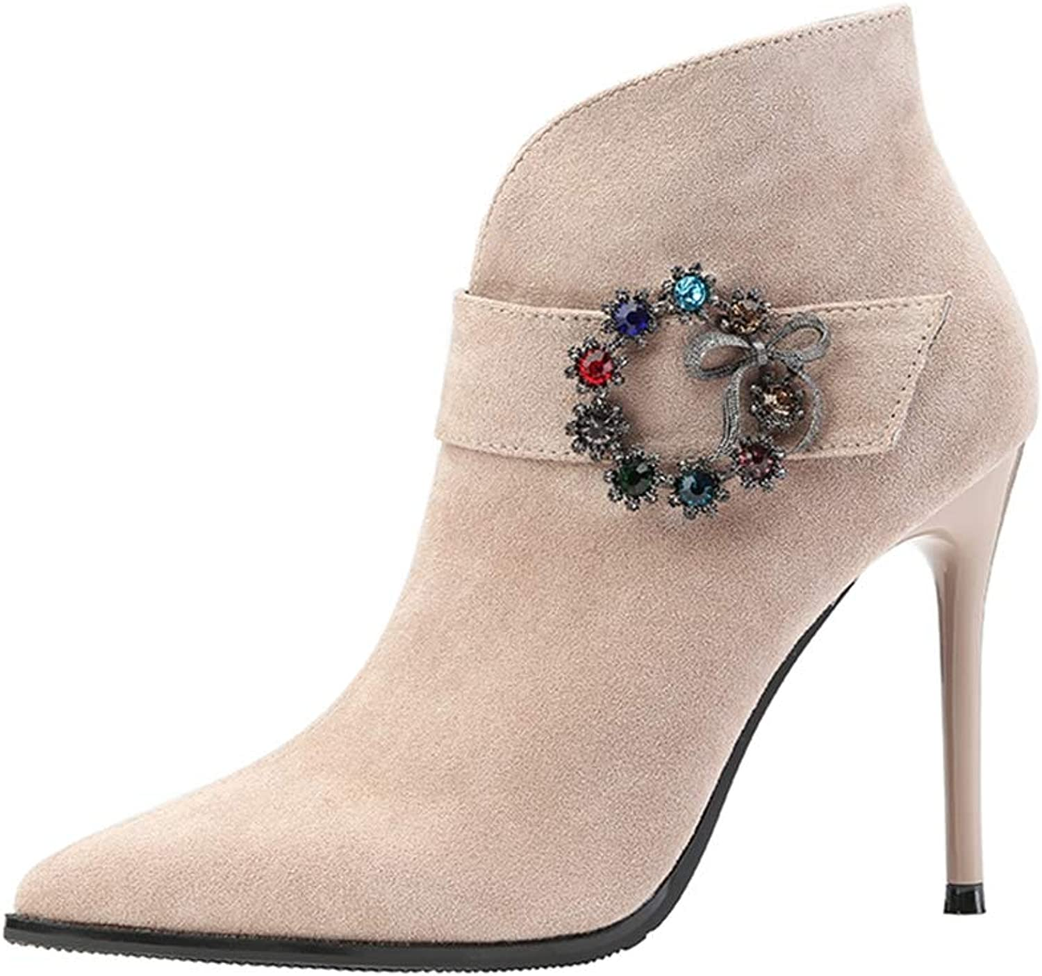 CYBLING Women Pointed Toe Ankle Boots Rhinestone Buckle Dress shoes Stiletto High Heels Short Warm Booties