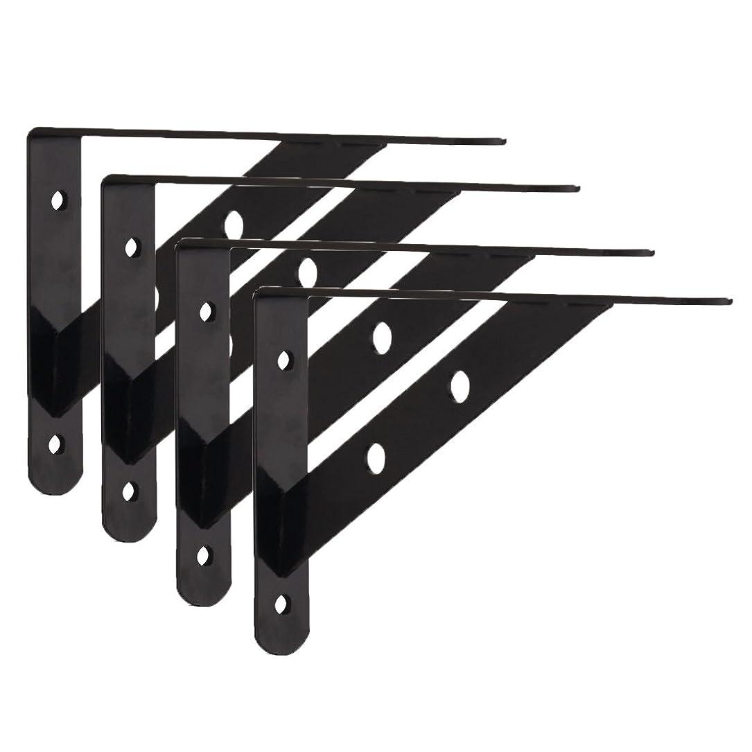 石の敬の念叫ぶlewu l字 棚受け 鉄厚さ3mm アイアンブラケット 4本入れ ビス付き ブラック (200x120mm)