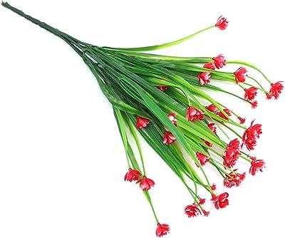 Shiwaki 5 Pcs Plante Artificielle 7 Broches Printemps Herbe gypsophile Bouquet décoration pour intérieur extérieur Suspendu jardinière Mariage Ferme décor (Rouge)