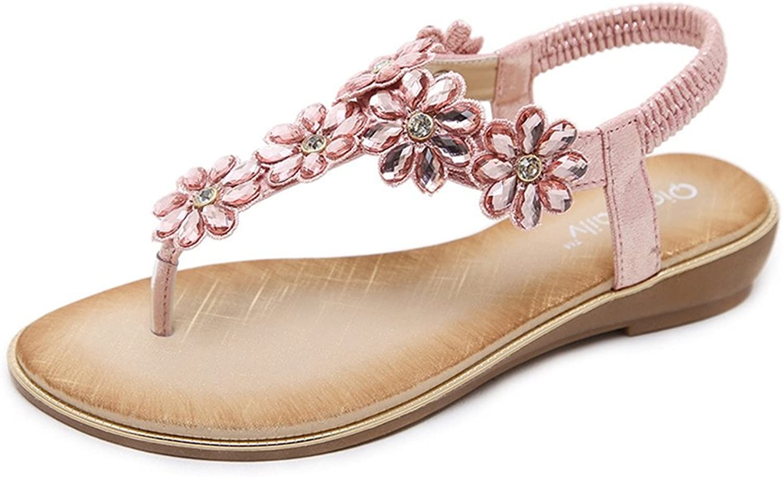 CYBLING Womens Rhinestone Flat Sandals Glitter T-Strap Wedding Bohemian Flip Flop shoes