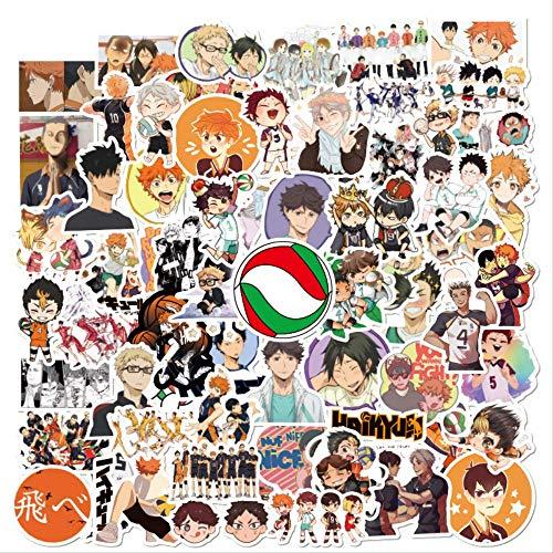 Haikyuu - 100 pegatinas de anime japonés, pegatinas de voleibol para pegatinas en maletín de guitarra, portátil, teléfono, frigorífico, C 100 unidades, 100 unidades