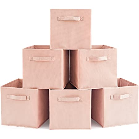 EZOWare Boîtes de Rangement Ouvertes en Textile Non-Tissé, Tiroir en Tissu, Pack de 6, pour Linge, Jouets, Vêtement, Disques DVD etc. - Pâle Dogwood