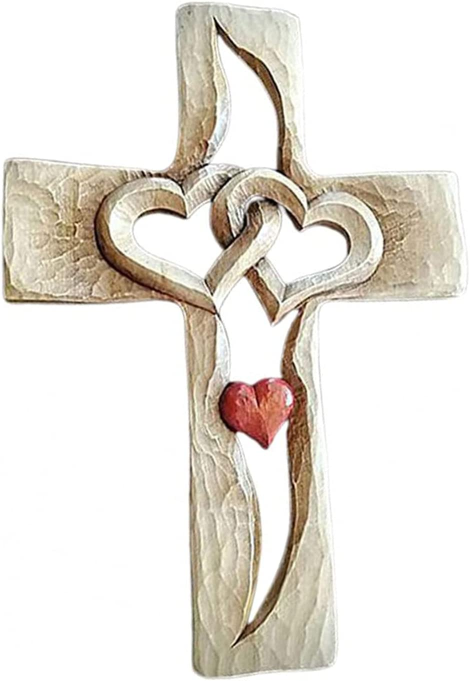Carved price Al sold out. Wooden Cross - Love Intertwined Hearts,Aopwsrlyi