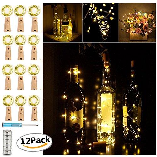LED Bouteille Guirlande Liège Lampes, Chickwin Blanc Chaud 6.6ft / 2m Fil de Cuivre Avec 20 Micro LED sur batterie Idéal pour Bouteille DIY fête Noël Halloween Intérieur et Extérieur (12PC)