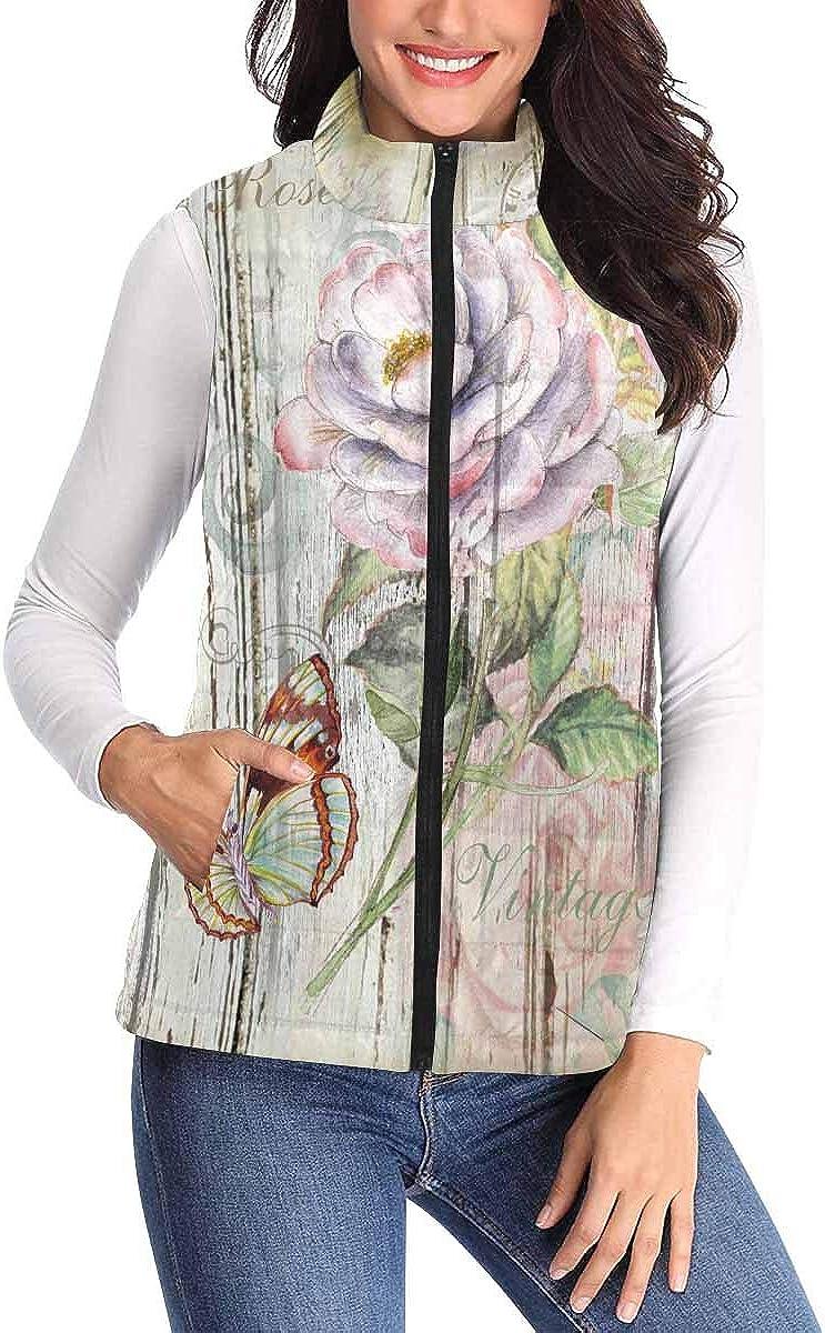 InterestPrint Women Vest Stand Collar Lightweight Padded Winter Outwear Floral Vintage