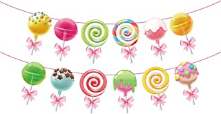 Anor WishLife Candyland Banner,Lollipop Banner,Rainbow Candy Banner,Donut Banner,Candyland Party Supplies,Candyland Baby Shower,Candyland Decoration for Girls,Kids,Home,Classroom,Bedroom
