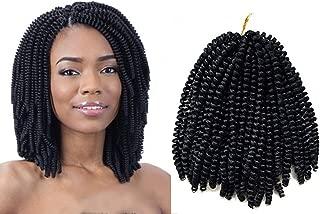 3Packs Spring Twist Hair Crochet Braids Ombre Braiding Bomb Twist Hair Extensions Spring Twist Crochet Hair For Fluffy Twist 8 Inch 60 strands Crochet Twist Hair 110G/Pack (#1B Black)