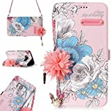 XYX Wallet Case for Galaxy S8 Plus,PU Leather Case for Samsung Galaxy S8+/S8 Plus SM-G955,Pearl Bracelets Wallet Case for Women Girls,Blue Rose