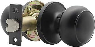 Probrico Interior Hallway Door Knobs for Hall Or Closet Flat Ball Black Passage Knobs, 1 Pack