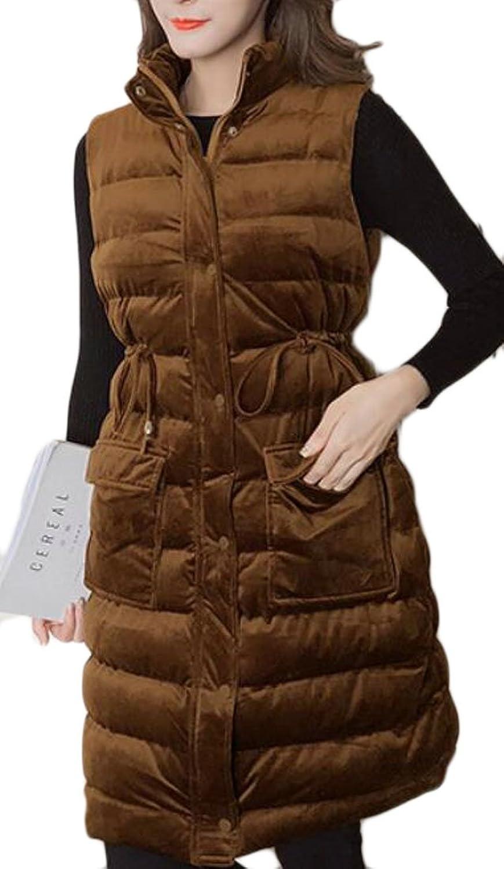 GAGA Women's Sexy Sleeveless Solid color Velvet Puffer Down Vest