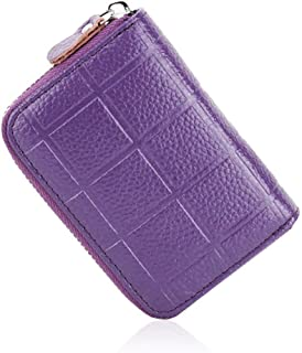 Women's Wallet Plaid Leather Card Holder Card Set Multi-Function Coin Purse PVC Inner Page Card Holder Vertical Document Package (Color : Purple, Size : S)