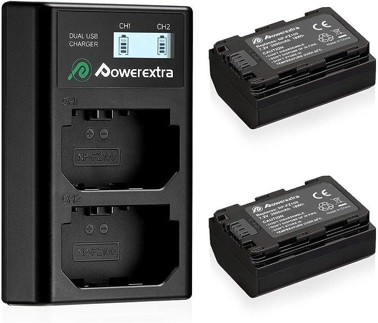 Powerextra Sony NP-FZ100 2 Baterias con Carcador Pantalla LCD para Sony NP FZ100 y Sony Alpha 9 Sony A9 Sony Alpha 9R Sony A9R Sony Alpha 9S Sony A9R Sony A7R3 Cámaras Digitales