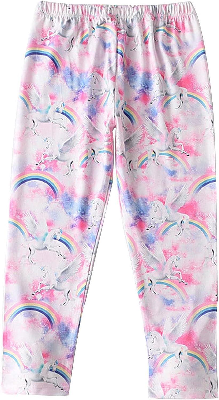 easyforever Girls Kids Tie-dye Rainbow Print Yoga Soft Leggings Pants Elastic Waistband Stretch Tights Dance Trouser