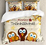 Ambesonne Turkey Duvet Cover Set, Happy Thanksgiving with Falling Leaves and Poultry Birds Harvest Time Celebration, Decorative 3 Piece Bedding Set with 2 Pillow Shams, Queen Size, Brown Cream