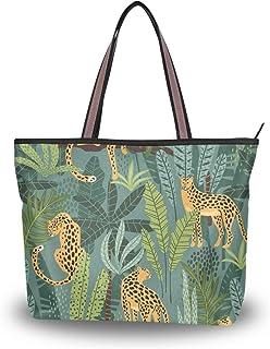 My Daily Damen Schultertasche, Leopardenmuster, tropische Blätter