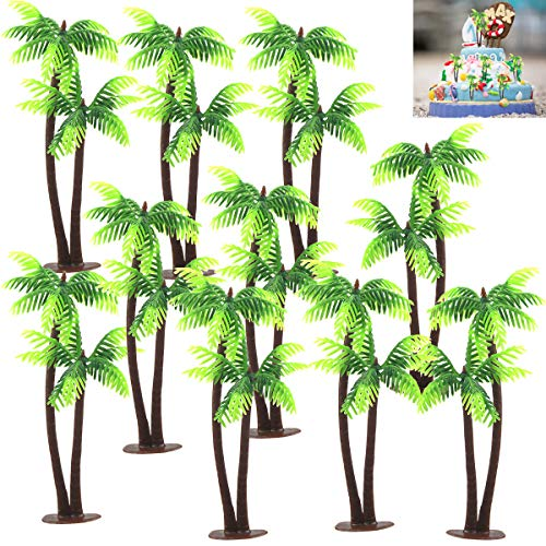 10pcs Plastic Cocount Palm Tree Cake Decoration Toppers,5.11inch DIY Mini Artificial Scenery Landscape for Jungle Themed Cake Decoration,Fish Tank,Teaching