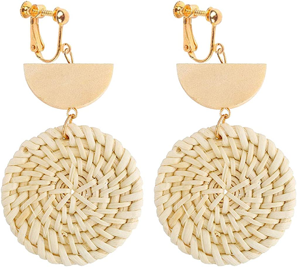 Geometric Rattan Clip on Dangle Earrings Wooden Crescent Round Summer Beach Jewelry for Girls Women
