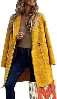 Womens Wool Blend Warm Winter Jacket Long Sleeve Cardigan Outerwear