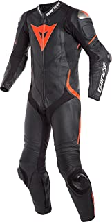 Dainese Laguna Seca 4 1PC Perforated Leather Suit (Black/Black/Fluo-Red, 60)