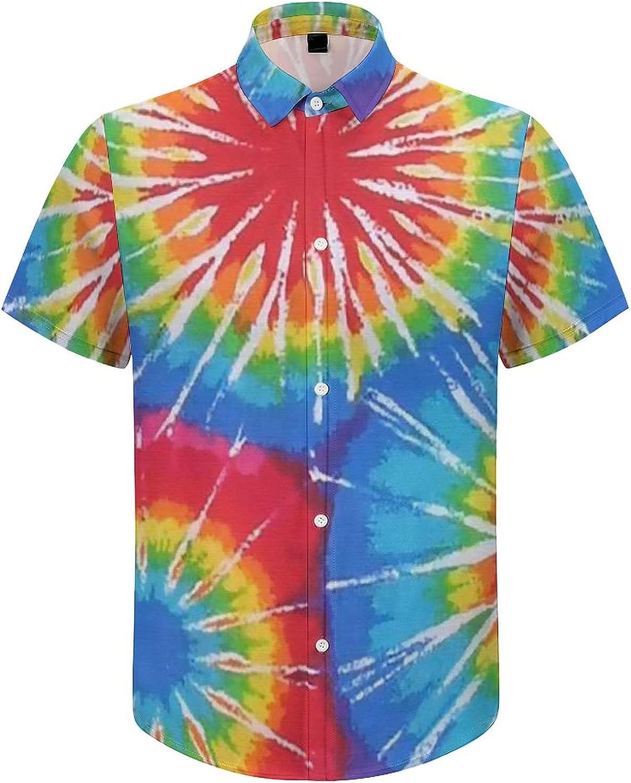 Hawaiian Shirts for Men Colorful T-ie Dy-e Rainbow Printed Beach Shirt Hawaiian Shirts