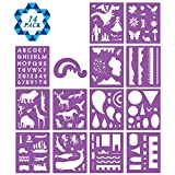 SOTOGO 14 Pcs Plastic Painting Stencils Set Craft Educational Toys for Kids - Over 150 Patterns Drawing Template Stencils with Zipper Case