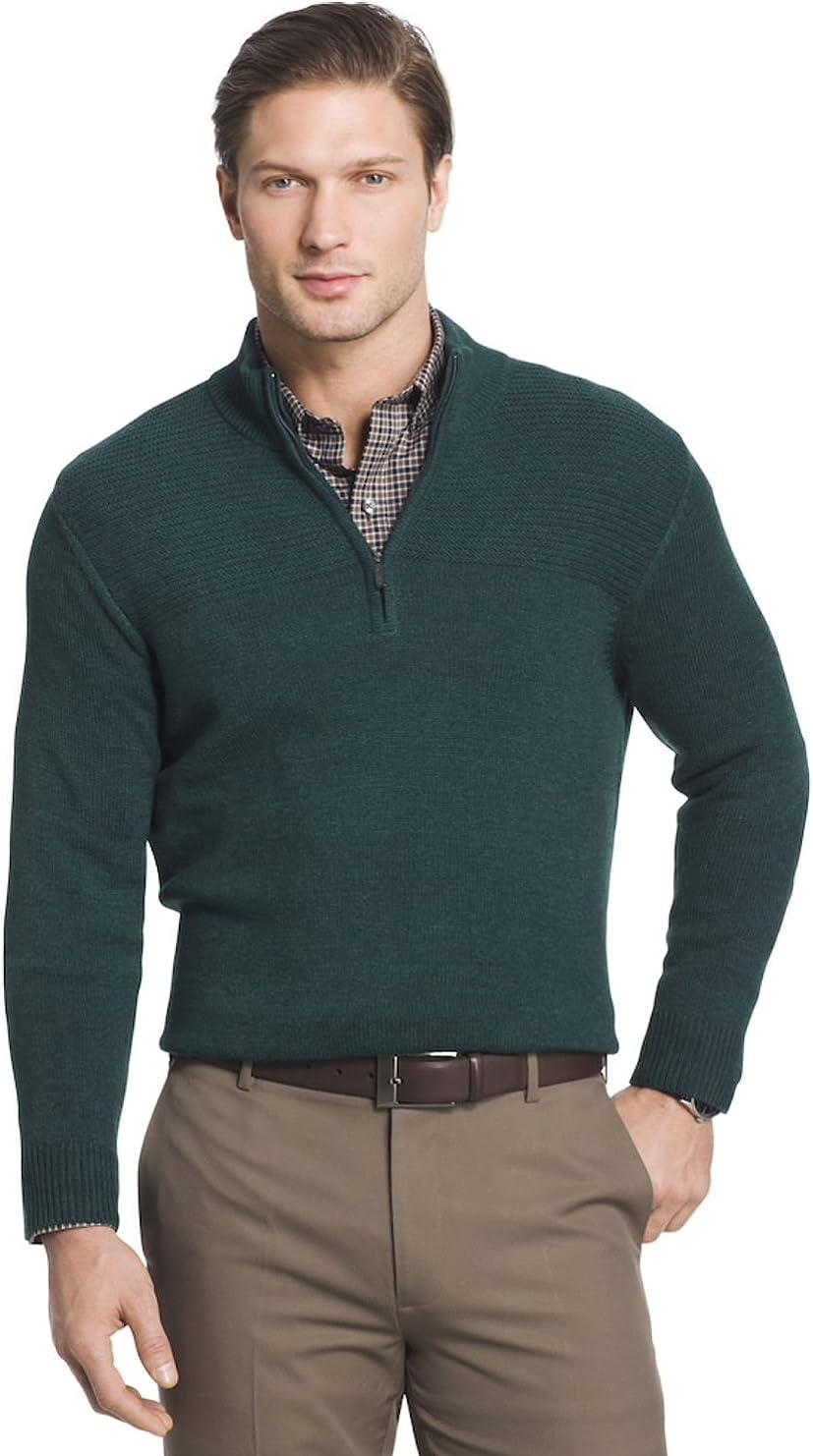 Van Heusen Men's Regular-Fit Textured Quarter-Zip Pullover Sweater