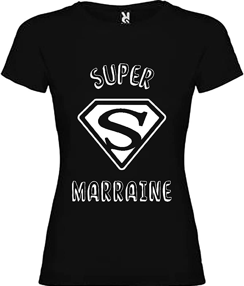 Tip Top Tshirt T-Shirt Femme Super Marraine Noir