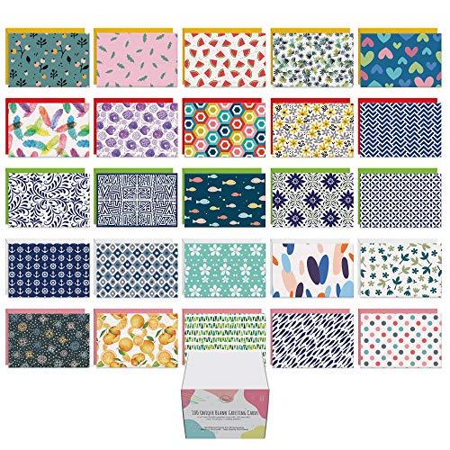 Dessie 100 tarjetas en blanco con sobres para todas las ocasiones – 100 tarjetas de felicitación en blanco diferentes de 10 x 15 cm...