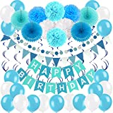 Zerodeco Geburtstagsdeko, Happy Birthday Wimpelkette Banner Girlande mit Pompoms Papier Girlande Fans Fächer Dreieckige Wimpel Spiral Girlanden und Luftballon - Blau