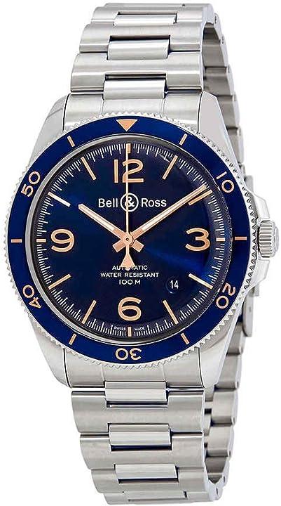 Orologio militare  - bell & ross vintage br v2-92 aeronavale quadrante blu automatico mens watch BRV292-BU-G-ST-SST