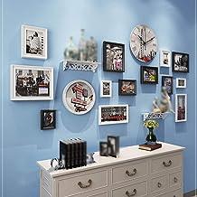 GJNVBDZSF Armações de foto, molduras para fotos, relógio de parede e prateleira, sala de estar, combinação de parede, conj...
