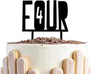 Four Birthday CakeTopper, 4th Year Old Birthday Sign,Black Number 4 Birthday Wedding Party Decorations