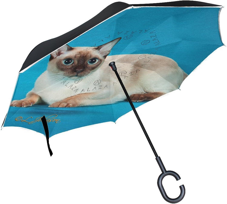 Animal Cat Tonkinese blueeeeye Blackandwhite Fluffy Real Pet Cute Ingreened Umbrella Large Double Layer Outdoor Rain Sun Car Reversible Umbrella