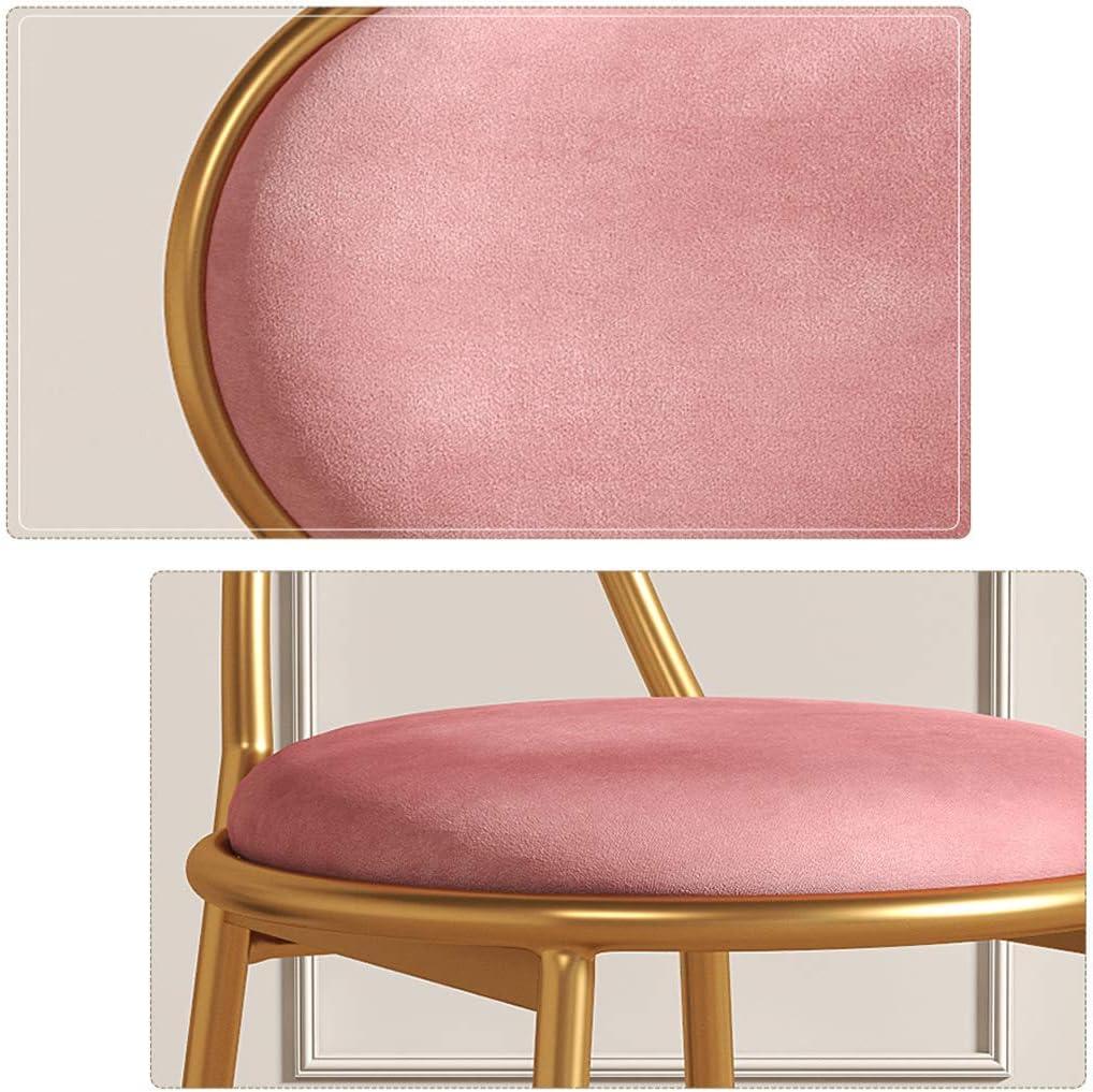 JALAL Chaise de Salle à Manger comptoir Loisirs café Maquillage thé au Lait Magasin de Desserts café Dossier Velours rembourré Jambe dorée, Charge maximale Pink
