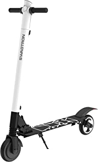 Swagtron Swagger 2 Plus Foldable Electric Scooter for Adults & Teens | Folding E-Scooter w/Built-in USB Port | 230 LB. Max. Weight, Balanced Motor, Triple Braking System (White)