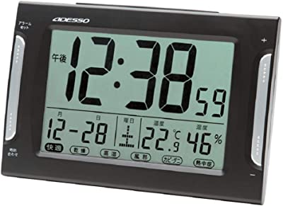 ADESSO(アデッソ) 置き時計 電波 デジタル ダブルアラーム 電波時計 注意報 温度 湿度 曜日 日付表示 ブラック DA-33