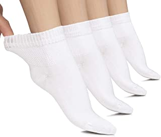Hugh Ugoli Lightweight Women's Diabetic Ankle Socks Bamboo Thin Socks Seamless Toe and Non-Binding Top, 4 Pairs