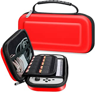 Nintendo Switch Carrying Case by NOKEA, Zipper Protective Portable Travel Shell Pouch EVA Carry Case with 10 Game Card Slots and Inner Pocket for Nintendo Switch Console & Accessories (Red)