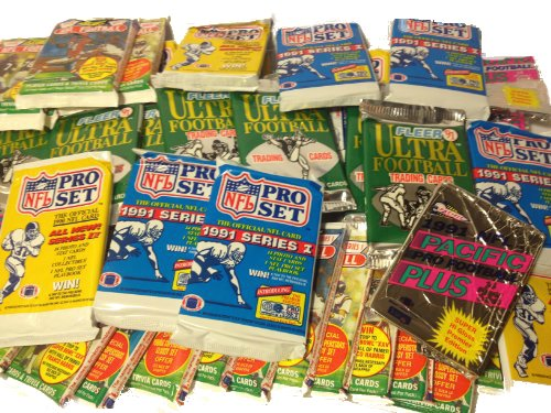 300 Vintage NFL Football Cards in Old Sealed Wax Packs - Perfect for New Collectors