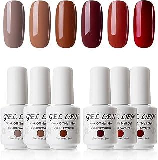 Gellen Gel Nail Polish Kit - Caramel Series Colors Trendy Brown Camel Reds Nail Art Gel Colors Home Manicure Set