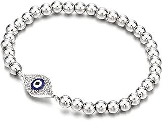 Beads Bracelet for Women Men with Cubic Zirconia Protection Evil Eye