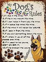 私の犬のルールティンサインの装飾ヴィンテージの壁金属プラークレトロな鉄の絵カフェバー映画のギフト結婚式誕生日警告