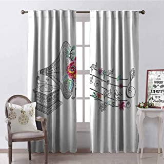GloriaJohnson Music Decor Shading Insulated Curtain Vintage Gramophone Record Player with Floral Ornament Blossom Antique Soundproof Shade W52 x L108 Inch Grey Pink