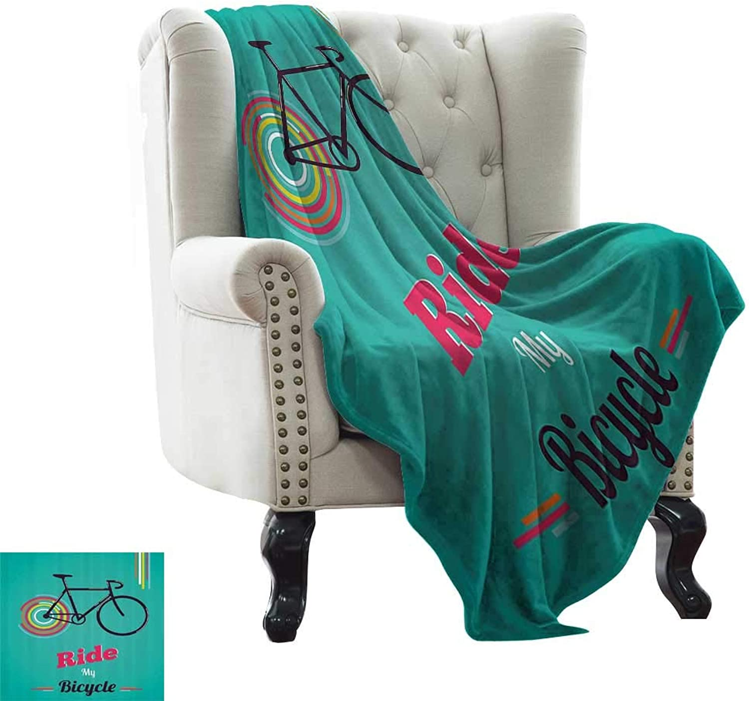 RenteriaDecor Vintage,Personalized Blankets Ride My Bicycle Theme Poster Style Retro Bike Hipster Art Illustration 60 x50  Blanket Warm Kids Festival Gift Teal Hot Pink Black