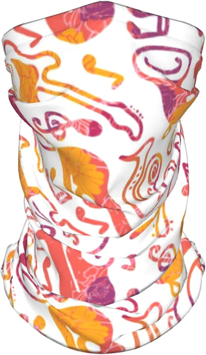 Colorful Musical Instruments Neck Gaiter Multipurpose Headwear Ice Silk Mask Scarf Summer Cool Breathable Outdoor Sport 2 Pcs